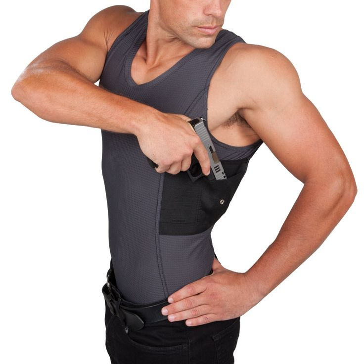 Men's Undertech Undercover Concealed Carry tank in grey/coolux-mesh  http://www.undertechundercover.com/index.php/concealed-carry/mens-coolux/undertech-undercover-men-concealment-tank-top-coolux-shirt.html