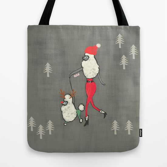 Merry Poodle Christmas! Tote Bag by Miba