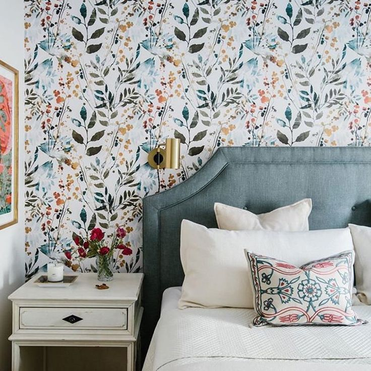 Herb Leaves Watercolor Removable Wallpaper Peel Stick Repositionable Fabric In 2021 Master Bedroom Wallpaper Accent Wall Bedroom Wallpaper Accent Wall Feature Wall Bedroom