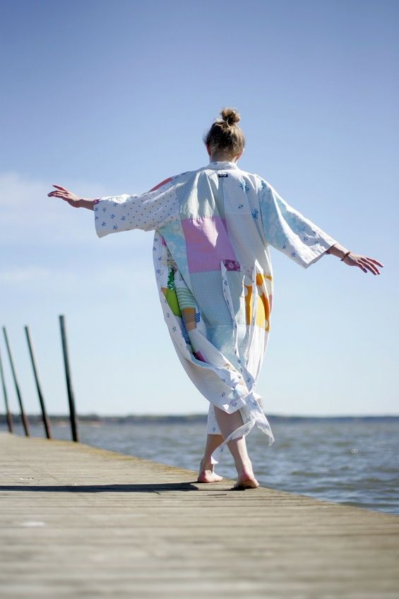 Handmade gown with a linen, made of recycled clothes. By a Finnish artist Virpi Lehtinen. Reward in the project Proud Age, who are working to make old age nicer for everyone.   http://www.mesenaatti.me/projects/proudage/