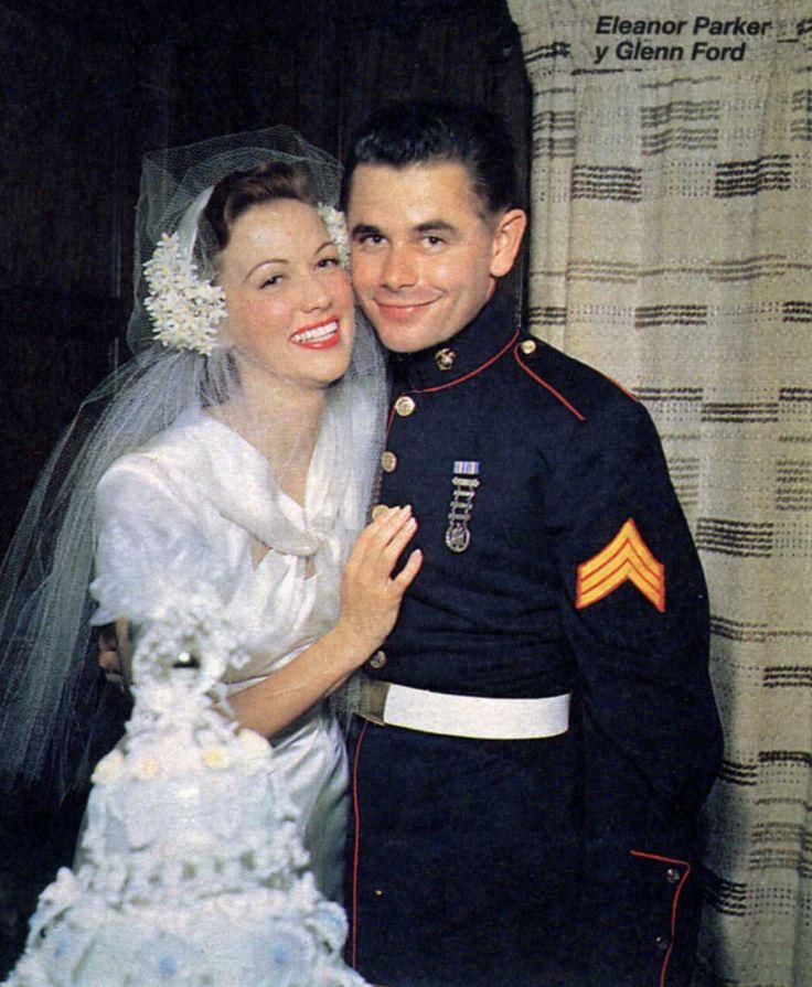 Glenn Ford y Eleanor Powell en el día de su boda, 1943