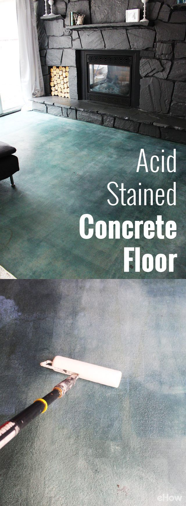 If you're looking for a durable, high impact flooring option that won't totally break the bank, consider a diy acid staining project. Muriatic acid, available in a variety of colors, penetrates concrete and reacts to the lime deposits, coloring the surface and giving a unique finish.  No two acid-stained floors will be the same! http://www.ehow.com/how_6502313_acid-stain-concrete-patio.html?utm_source=pinterest.com&utm_medium=referral&utm_content=freestyle&utm_campaign=fanpage