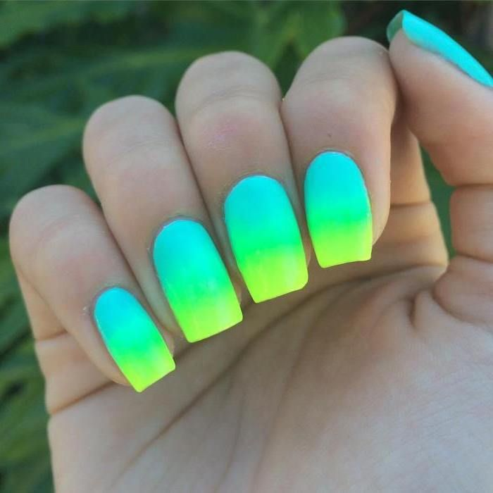 Neon Blue Green Yellow Ombre Spring Nail Polish Blurred Background In 2020 Neon Green Nails Neon Nail Polish Nail Art Designs Summer