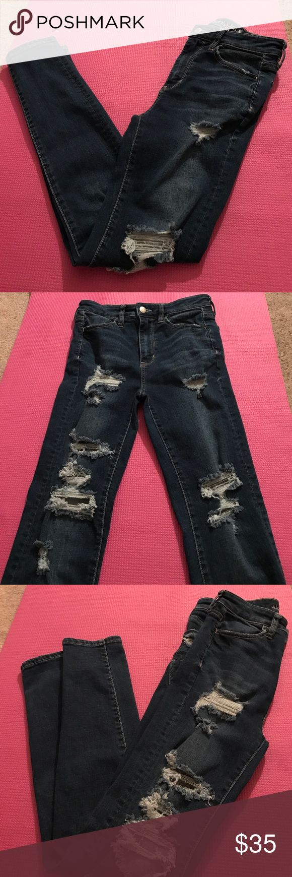 American Eagle SUPER HI RISE JEGGING This pair doesn't exist in stores yet, it was a TEST for only certain stores. Worn 2-3 times and washed, so perfect condition! American Eagle Outfitters Jeans