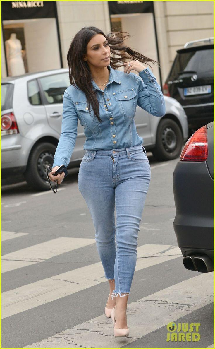 Kim Kardashian Does Double Denim for Paris Lunch with Serena Williams | Kim Kardashian, Serena Williams Photos | Just Jared