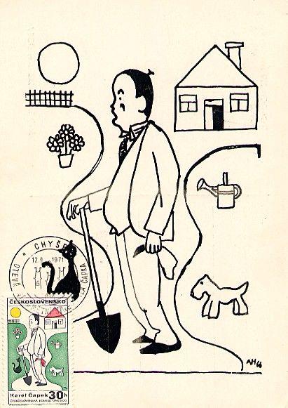 Karel Čapek, as drawn by cartoonist Adolf Hofmeistr