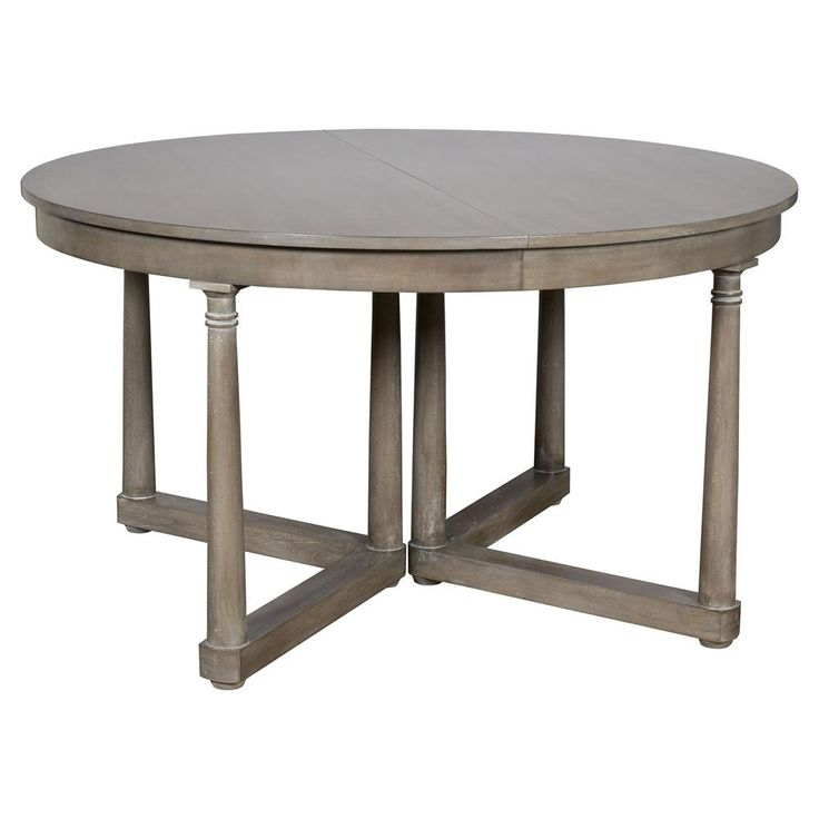 Declan Rustic Grey Brown Extendable Round Dining Table | Kathy Kuo Home