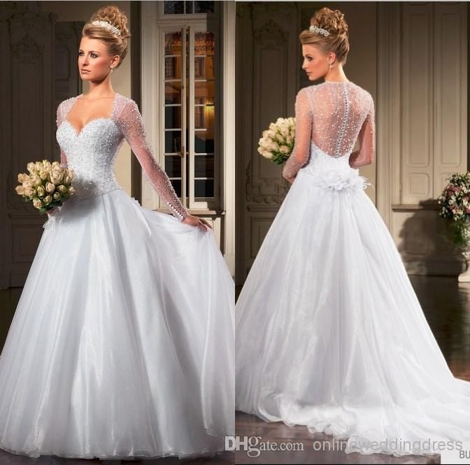 Wholesale A-line Sexy Sweetheart Beads Crystals Long Sleeves Backless White/Ivory 2014 Summer Wedding Dresses NC0032 Custom Made Wedding Gowns, Free shipping, $182.37/Piece   DHgate Mobile