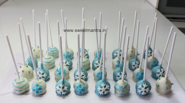 Homemade Eggless Frozen theme birthday Cake Pops - perfect mini dessert for a kids birthday party