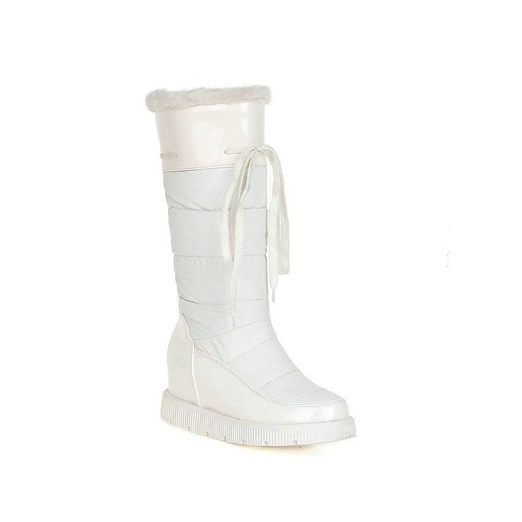 VINLLE Women Mid-Calf Boots Height Increasing Med Heel Round Toe Slip-on Snow Boots * To view further for this item, visit the image link.