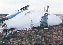 THE REMAINS OF THE NOSE SECTION OF PAN AM BOEING 747 FLIGHT 103 IN 1988