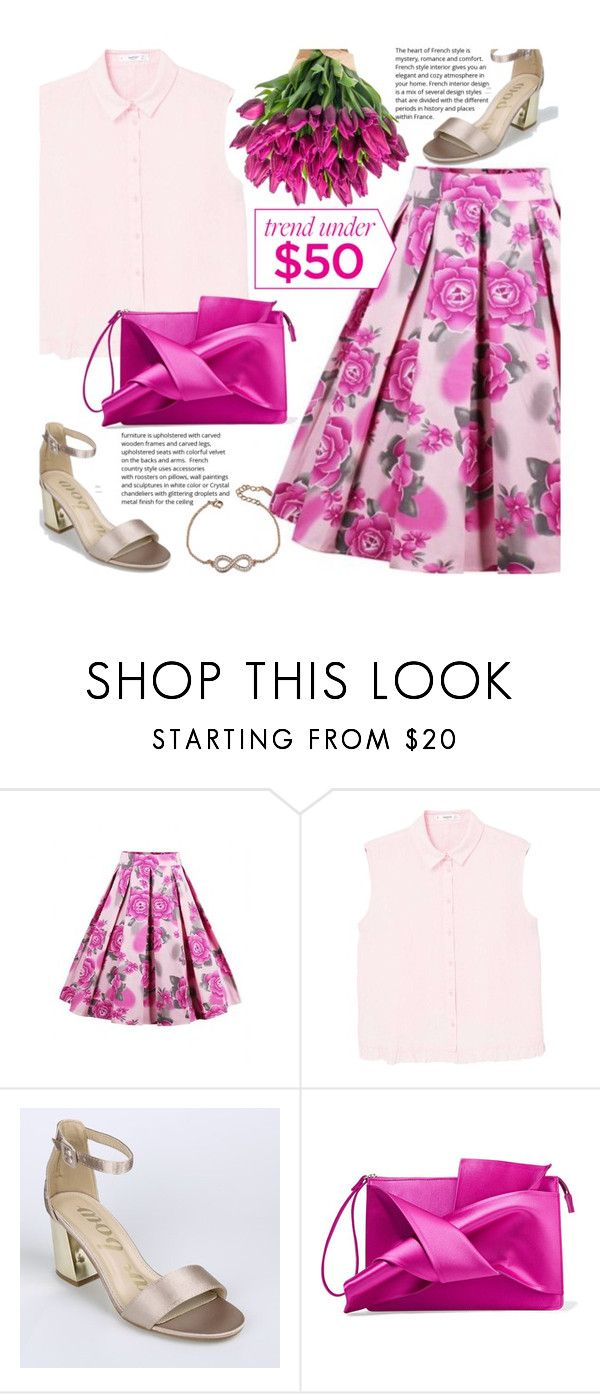 """""""Spring Trend: Floral Print Skirt"""" by beebeely-look ❤ liked on Polyvore featuring MANGO, N°21, floral, preppy, Floralskirts, twinkledeals and monochromepink"""