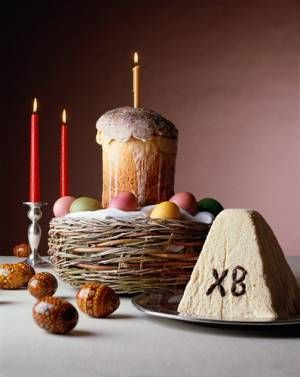 April 14, 2012 is Russian Orthodox Easter.. this is traditional Easter Bread (Kulich) and sweet cheese (Pahska, which also means Easter). Christ is risen... indeed he is risen, is the traditional Orthodox greeting on this day.