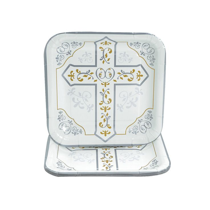These Religious Cross Dinner Plates are the perfect addition to your party supplies! Match these Christian-themed paper plates with party favors of like ...  sc 1 st  Pinterest & 13 best Baptism images on Pinterest | Party supplies Baptism party ...