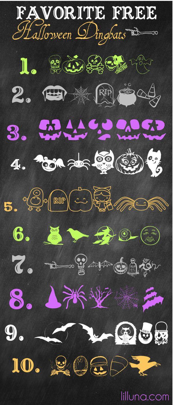 Favorite Free Halloween Dingbats on { lilluna.com } #halloween #dingbats