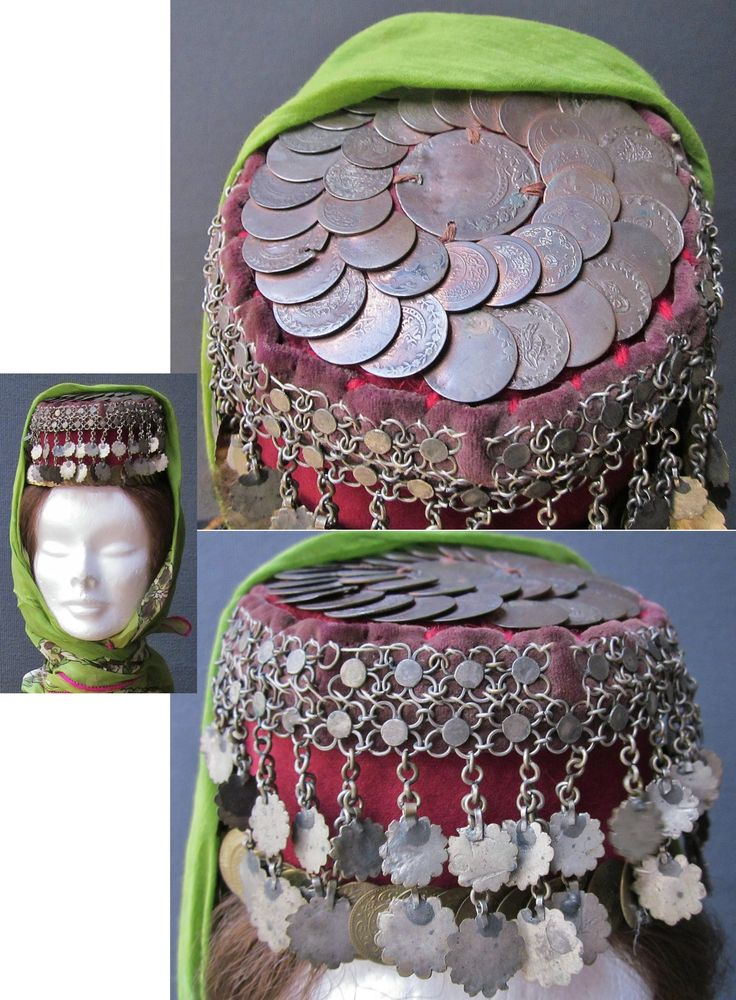 Traditional festive headgear from Central-Anatolia (Konya – Niğde).  Second half 19th century.  The felt 'fes' (hat) is adorned with silver chains & pendants, and late-Ottoman copper coins.  The usual metallic cover (often silver) is replaced by 19th century Ottoman coins which overlap.  (Inv.nr. ba$028 - Kavak Costume Collection - Antwerpen/Belgium).