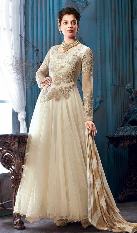 Mugdha Godse Cream Embroidered Georgette Long Anarkali Suit Price: Usa Dollar $145, British UK Pound £86, Euro107, Canada CA$158 , Indian Rs7830