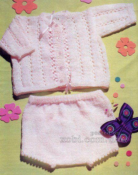 вязаный комплект для новорожденной - жакет и шортики