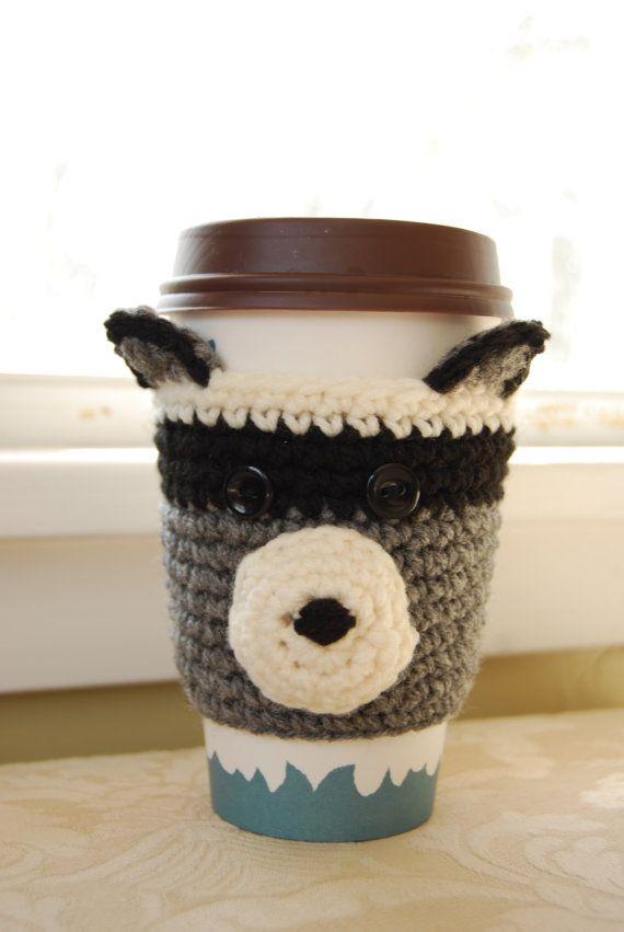Mapache café taza de café acogedor ganchillo Crochet mapache