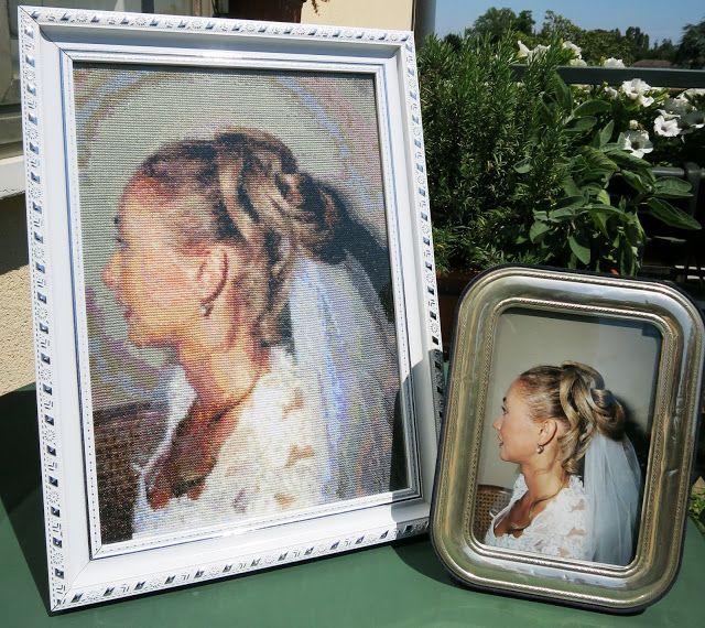 Autoritratto matrimonio da una fotografia - ricamo a punto croce