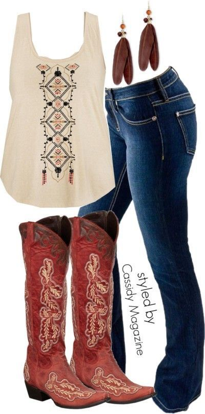 Not a fan of red boots but I like this!