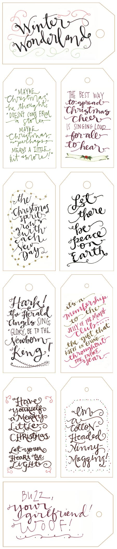 Calligraphy Gift Tags for Winter holidays and Christmas. Inspired me to look for my ancient calligraphy pens.     I could hide private messages in the flourishes (steganography in a new way)