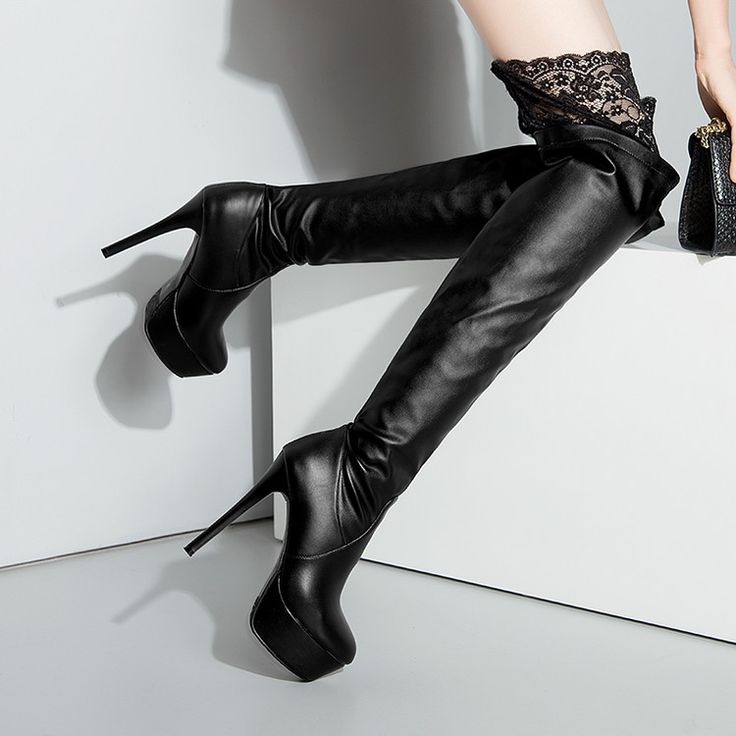 Sexy long black leather/stretch thigh high boots 1969 size EUR 41/42 17 cm heels