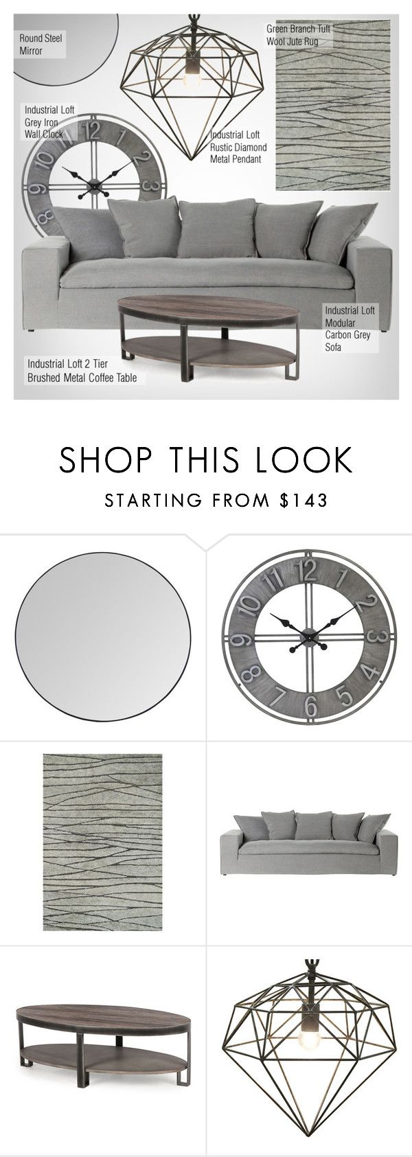 """""""Industrial Decor"""" by kathykuohome ❤ liked on Polyvore featuring interior, interiors, interior design, home, home decor, interior decorating, livingroom, Home, industrial and homedecor"""
