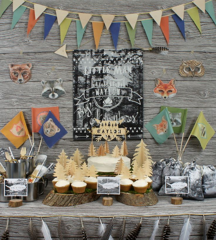 Party In A Tote Kit – Wilderness Theme by Wonderful Collective on Scoutmob Shoppe. ALL this cuteness in one kit: goodie bags, signage, garland, gift tags, cupcake toppers... and more.