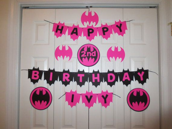 Batgirl Happy Birthday Banner personalized with name on Etsy, $28.00