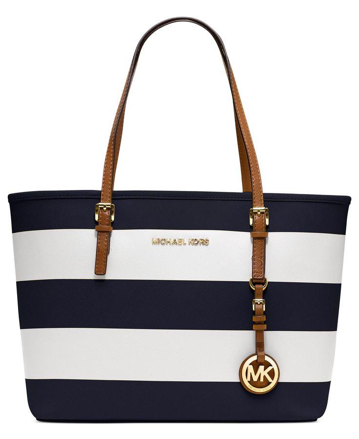 MICHAEL Michael Kors Handbag, Jet Set Small Travel Stripe Tote - Handbags \u0026  Accessories -