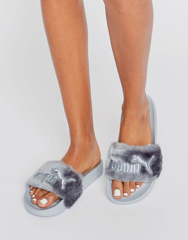 Puma+X+Rihanna+Fenty+Leadcat+Fluffy+Sliders+In+Grey