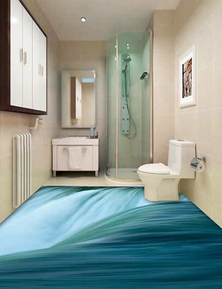 Revêtement de sol trompe l'œil 3D cuisine salle de bain - La grande chute d'eau