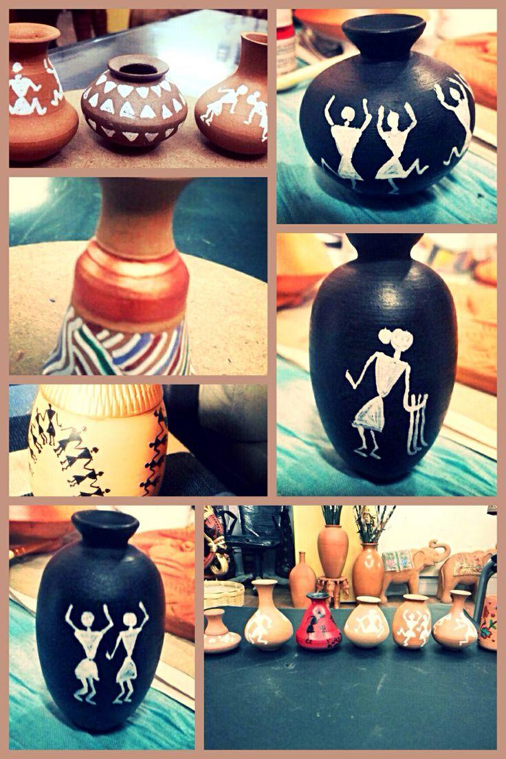 Miniature terra cotta pots with Warli designs