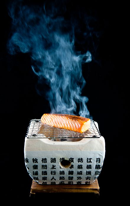 Maple-Soy Cured Salmon grilled quickly over Japanese Binchō-tan charcoal.