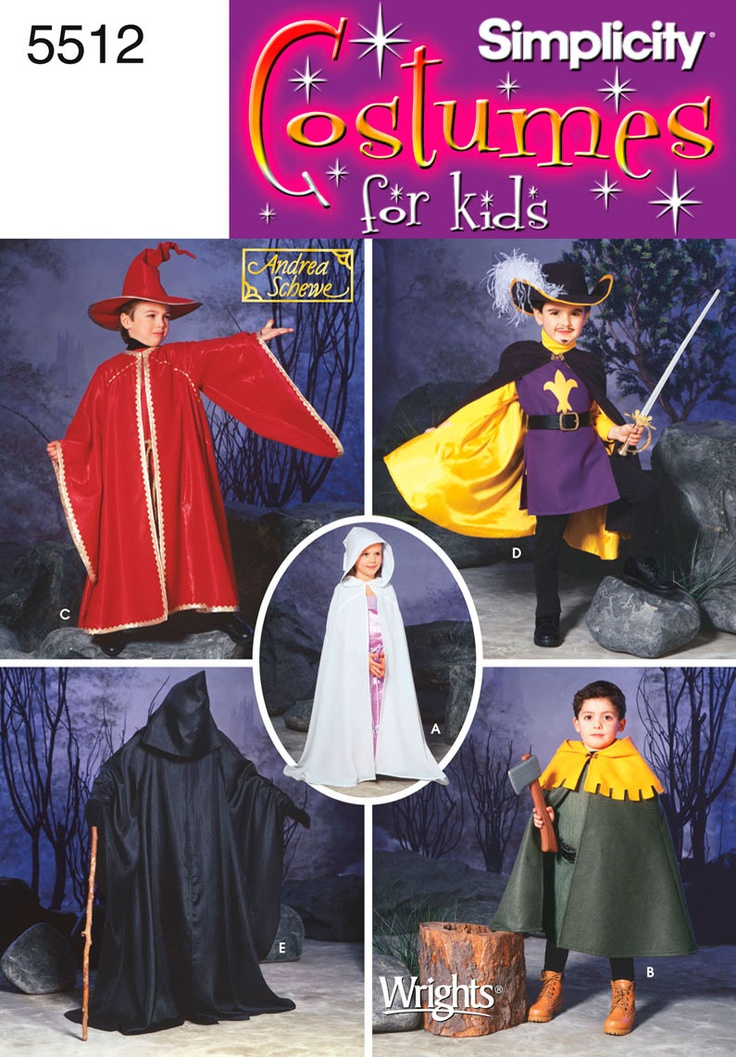 simplicity 5512 cape for merida costume - Childrens Halloween Costume Patterns