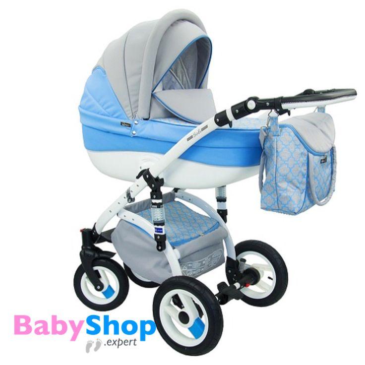 Kinderwagen Evado 3in1: Babywanne, Buggy, Autositz - blau + Muster  http://www.babyshop.expert/Kinderwagen-Evado-3in1-Babywanne-Buggy-Autositz_17  #babyshopexpert #kombikinderwagen #kinderwagen