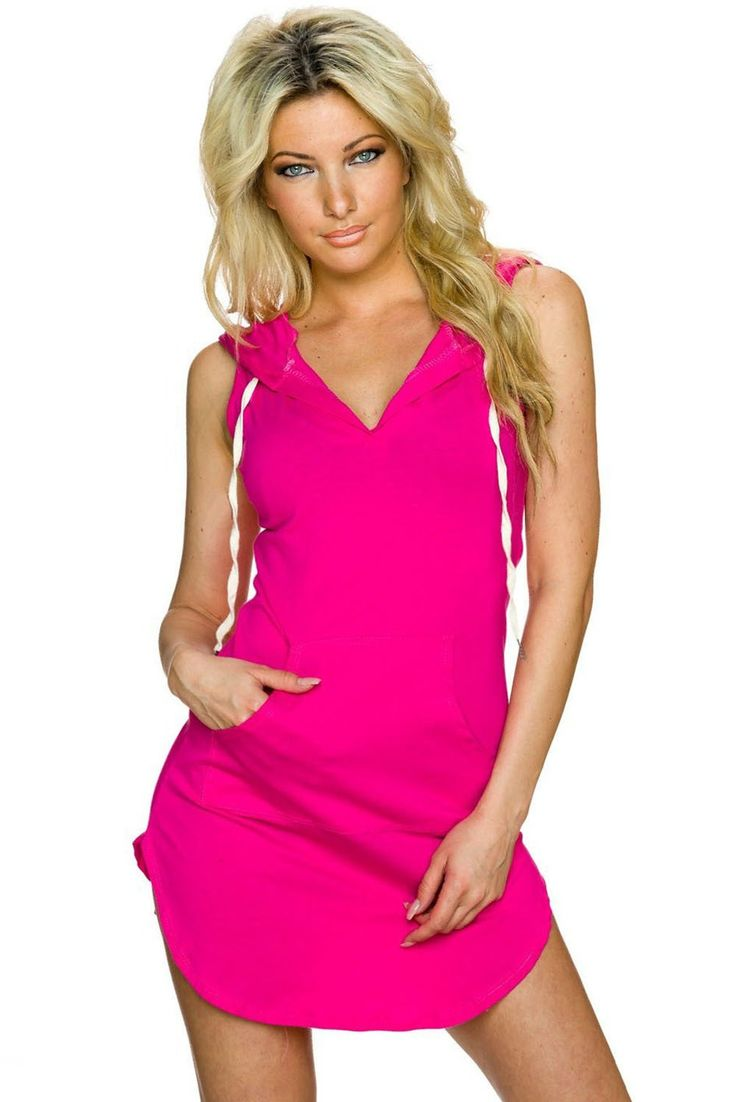 Mini Robes Rose Coton Sweat A Capuche Robe Pas Cher www.modebuy.com @Modebuy #Modebuy #CommeMontre #sexy #Rose #dress