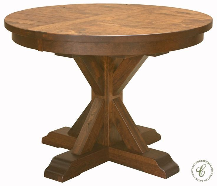 Amish Made, Our Hotchkiss Rustic Round Kitchen Table Boasts A Planked Top,  Single Pedestal