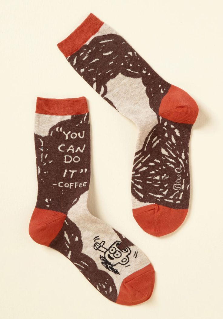 Joe, Team, Go! Socks. With a caffeine buzz in your hands, a song in your heart, and these brown socks on your feet, you can accomplish anything you set your mind to! #brown #modcloth