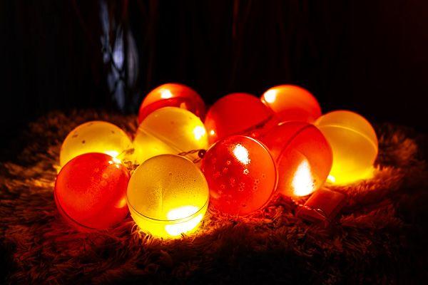 beleuchtete Weihnachtskugeln als Dekoration oder für den Weihnachtsbaum. Die Umsetzung ist schnell und einfach und das Ergebnis großartig