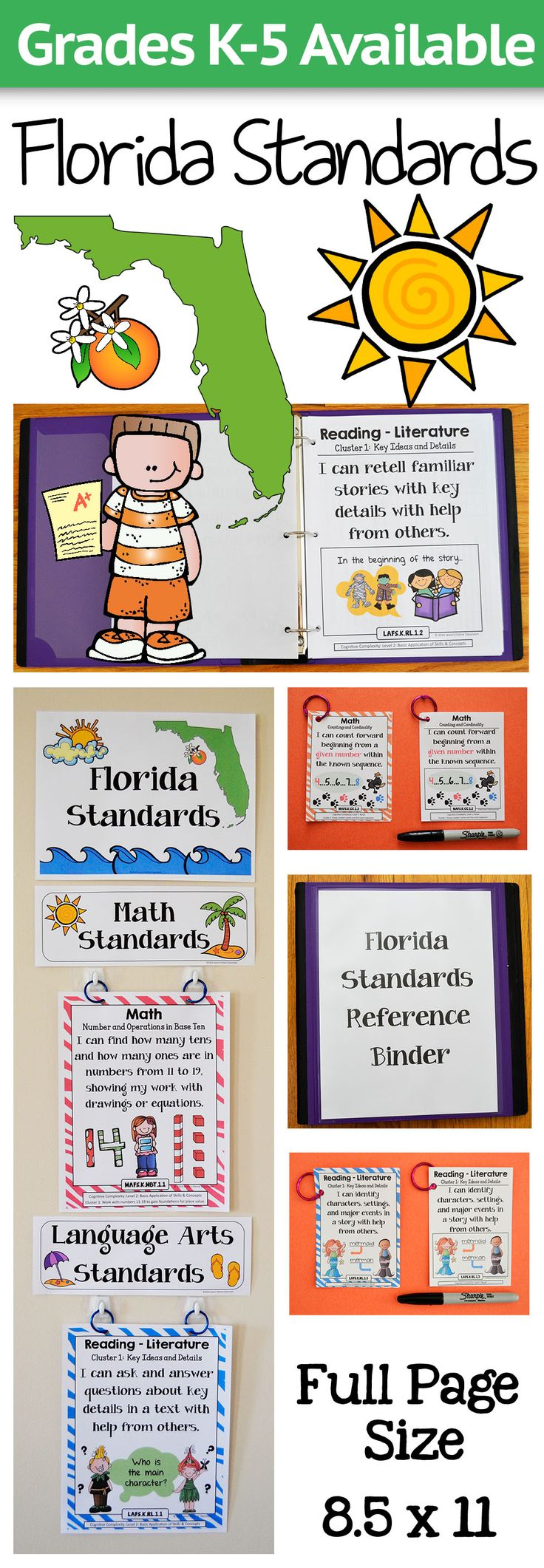 Florida Math, ELA, Science, and Social Studies Standards for Grades K-5. Create amazing classroom displays, focus walls, and reference binders! There are also miniature posters included that are the perfect size for interactive notebooks or student reward badges! Stay organized and help the students take charge of their own learning!