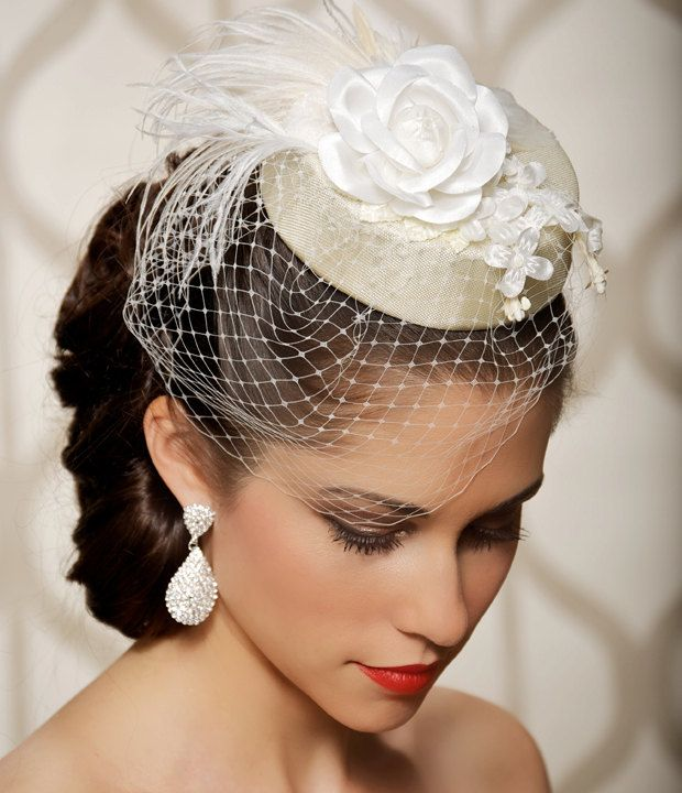 Bridal Hat, Bridal Head Piece, Fascinator, Vintage, Hollywood, Pillbox, Hat with Veil, Birdcage Veil, White Flowers - SUSIE. $89.00 USD, via Etsy.