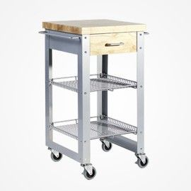 Wood And Stainless Bobbi Kitchen Cart For Your Tiny Home