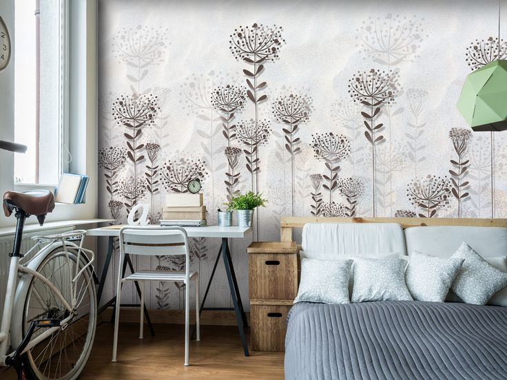 The shortest way to cozy&nordic bedroom is calm colour palette - like on this so pretty wall mural!