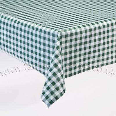 Green Gingham Vinyl Table Cover B4