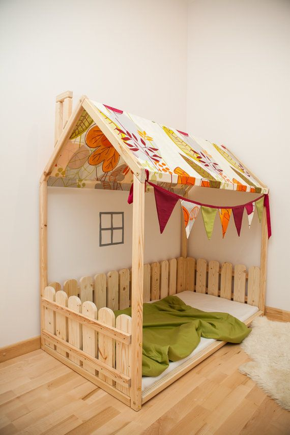 Children Bed house with fabric roof / by SweetHOMEfromwood on Etsy