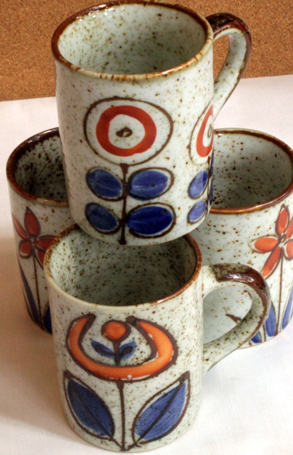 Mod Housewares Speckled Stoneware Pottery Mugs by 2bvintedge