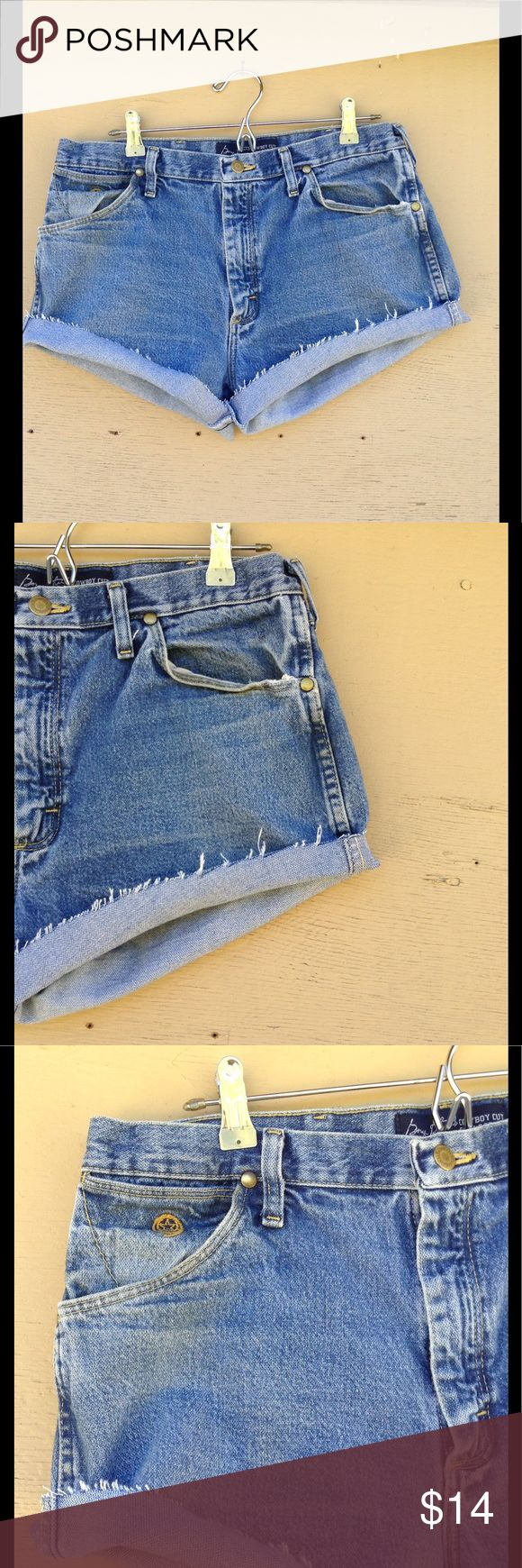 Vintage Wrangler Shorts These are revamped Vintage Wrangler jeans.  Size 34.   Add to a bundle for an automatic discount or make an offer!   If you bundle tour likes together I can send you a private discounted offer, just let me know! Wrangler Shorts Jean Shorts