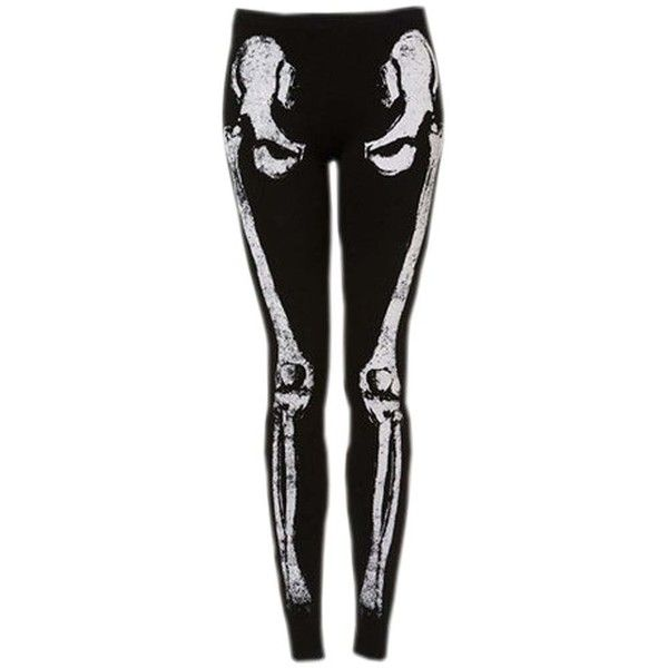 Meilaier Womens Skeleton Leggings Sexy Stretch Tights Black Render... ($18) ❤ liked on Polyvore featuring pants, leggings, bottoms, jeans, stretch leggings, sexy leggings, stretch trousers, stretchy pants and stretch pants